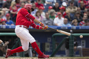 Andres Blanco #4 of the Philadelphia Phillies hits an RBI double in the bottom of the third inning against the Miami Marlins at Citizens Bank Park on May 18, 2016 in Philadelphia, Pennsylvania. The Phillies defeated the Marlins 4-2.