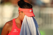 Agnieszka Radwanska of Poland shows her dejection against Victoria Azarenka of Belarus in their fourth round match during the Miami Open Presented by Itau at Crandon Park Tennis Center on March 26, 2018 in Key Biscayne, Florida.