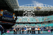 Naomi Osaka of japan, Novak Djokovic of Serbia, Serena Williams and Roger Federer of Switzerland participate in the ribbon cutting ceremony held on center court during the Miami Open Presented by Itau at Hard Rock Stadium March 20, 2019 in Miami Gardens, Florida.