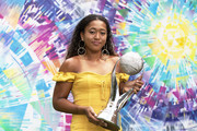 Naomi Osaka of Japan poses with the Chris Evert WTA World No.1 trophy during day three of the Miami Open tennis on March 20, 2019 in Miami Gardens, Florida.