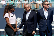 Serena Williams speaks to Stephen Ross at the ribbon cutting ceremony held on center court during the Miami Open Presented by Itau at Hard Rock Stadium March 20, 2019 in Miami Gardens, Florida.