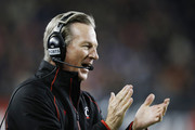 Head coach Tommy Tuberville of the Cincinnati Bearcats looks on against the Miami Hurricanes in the first half at Nippert Stadium on October 1, 2015 in Cincinnati, Ohio.