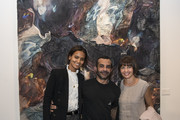 "(L-R) Liya Kebede, Michael Angel and  Kiki Denis attend Artist Michael Angel's ""Maps and Stacks"" Presented by Gobbi Fine Art on October 10, 2019 in New York City."