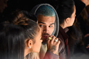 Christina Milian, Karrueche Tran and Chris Brown attend the Michael Costello fashion show during Mercedes-Benz Fashion Week Fall 2015  at The Salon at Lincoln Center on February 17, 2015 in New York City.