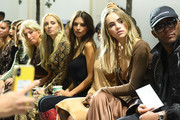 (L-R) Sarah Hoover, Harley Viera-Newton, Emily Ratajkowski, Suki Waterhouse, and Law Roach attend the Michael Kors Collection Spring 2020 Runway Show on September 11, 2019 in Brooklyn City.