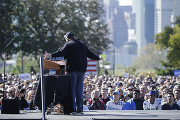 Michael Moore Bernie Sanders Returns To The Campaign Trail With A Rally In New York City