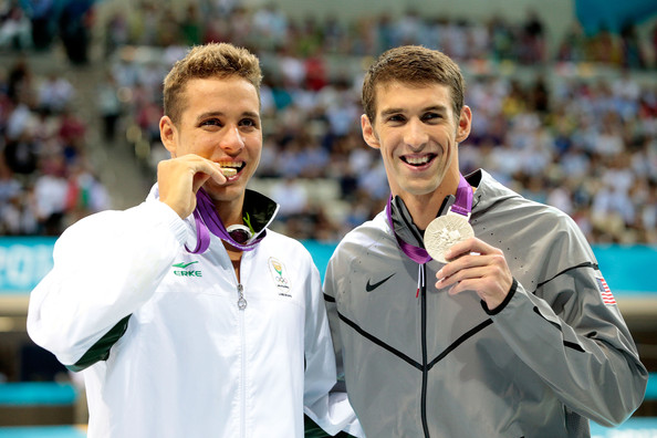Olympics Day 4 - Swimming [medal,championship,silver medal,bronze medal,award,gold medal,competition event,sports,michael phelps,men,chad le clos,l-r,medallist,medals,south africa,united states,olympics,butterfly final]