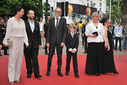 """(L to R) Actors Ursula Strauss, Michael Fuith, director Markus Schleinzer, actors David Rauchenberger, Christine Kain and Gisella Salcher attend the """"Michael"""" premiere at the Palais des Festivals during the 64th Cannes Film Festival on May 14, 2011 in Cannes, France."""