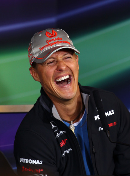 Michael Schumacher Michael Schumacher of Germany and Mercedes GP laughs while attending the drivers press conference during previews to the German Formula One Grand Prix at the Nurburgring on July 21, 2011 in Nurburg, Germany.