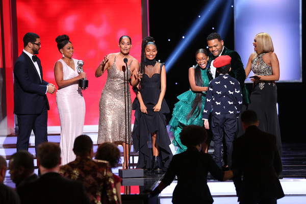 49th NAACP Image Awards - Show [performance,entertainment,event,fashion,performing arts,stage,public event,fashion design,performance art,musical theatre,michael smith,jemele hill,tracee ellis ross,yara shahidi,l-r,award,pasadena civic auditorium,naacp image awards,show,outstanding comedy series]