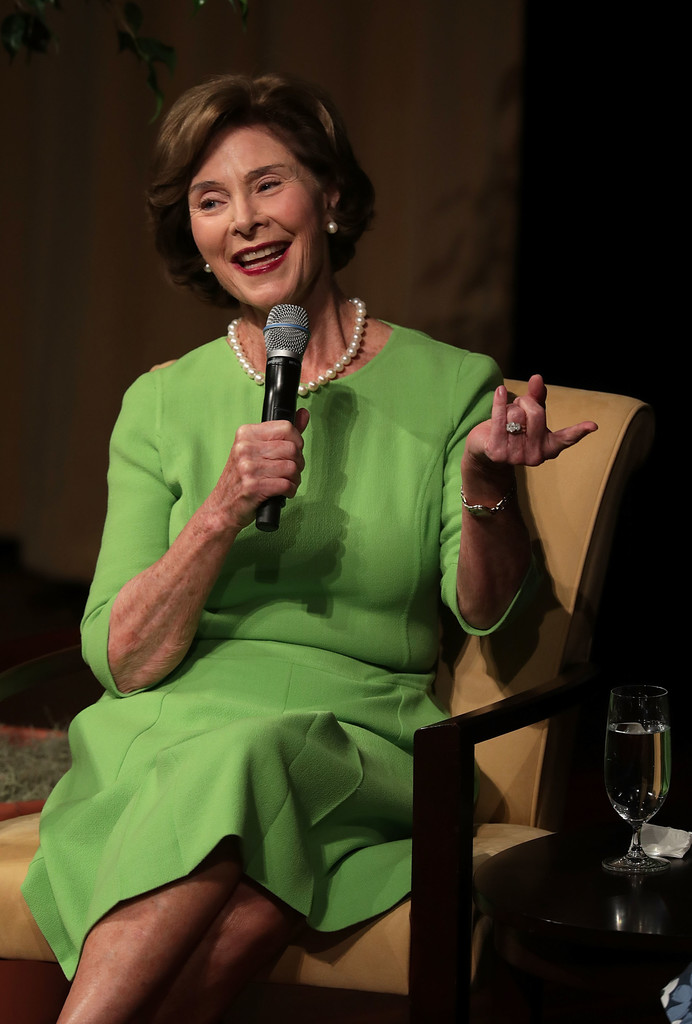 laura bush photos photos michelle obama and former first lady laura bush speak on the. Black Bedroom Furniture Sets. Home Design Ideas