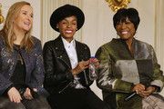 "(L-R) Music artists Melissa Etheridge, Janelle Monae and Patti LaBelle answer audience questions during a workshop titled ""I'm Every Woman: The History of Women in Soul"" in the State Dining Room at the White House March 6, 2014 in Washington, DC. As part of a concert honoring women in soul music, First Lady Michelle Obama hosted the workshop for 124 students from middle school, high school and colleges from across the country."