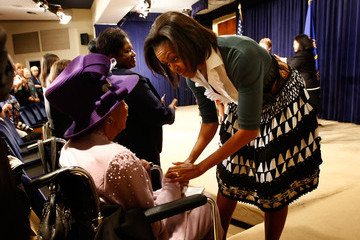 Dorothy Height Michelle Obama Makes Remarks On Health Insurance Reform