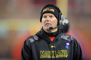 Head coach Randy Edsall of the Maryland Terrapins looks on during a college football game against the Michigan State Spartans at Byrd Stadium on November 15, 2014 in College Park, Maryland.