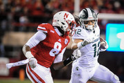 Defensive back Chris Jones #8 of the Nebraska Cornhuskers takes an angle on wide receiver R.J. Shelton #12 of the Michigan State Spartans during their game at Memorial Stadium on November 7, 2015 in Lincoln, Nebraska.