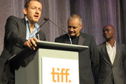 """(L-R) Actor Dany Boon, writer/director Jean-Pierre Jeunet and co-director of TIFF Cameron Bailey onstage at the """"Micmacs"""" screening during the 2009 Toronto International Film Festival held at Roy Thomson Hall on September 15, 2009 in Toronto, Canada."""