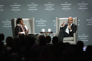 Satya Nadella (R), Chief Executive Officer of Microsoft, speaks with Mellody Hobson, Chair of The Economic Club of Chicago (ECC) during an Economic Club dinner on October 3, 2018 in Chicago, Illinois. Nadella succeeded Steve Ballmer as Microsoft CEO in 2014.