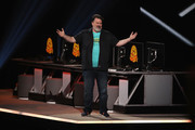 Tim Schafer, Head of Double Fine Productions, speaks during the Xbox E3 2019 Briefing at The Microsoft Theater on June 09, 2019 in Los Angeles, California.