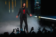 """Actor Keanu Reeves speaks about """"Cyberpunk 2077"""" from developer CD Projekt Red during the Xbox E3 2019 Briefing at The Microsoft Theater on June 09, 2019 in Los Angeles, California."""
