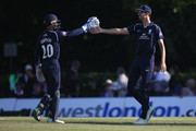 Steven Finn and John Simpson of Middlesex celebrates the wicket of Matt Henry of Kent during the Royal London One-Day Cup match between Middlesex v Kent at Radlett Cricket Club on May 20, 2018 in Radlett, England.