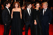 (L-R) Riccardo Scamarcio, director Valeria Golino, actor Libero De Rienzo, actress Jasmine Trinca and actor Carlo Cecchi attend the Premiere of 'Miele' (A Touch of Sin) during The 66th Annual Cannes Film Festival at Palais des Festivals on May 17, 2013 in Cannes, France.