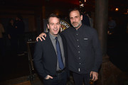"""Actors Mike Birbiglia and Nick Sandow attend """"Mike Birbiglia: Thank God For Jokes"""" Opening Night at the Lynn Redgrave Theatre on February 11, 2016 in New York City."""