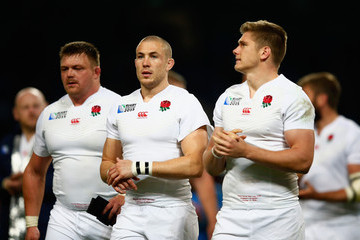 Mike Brown Owen Farrell England v Uruguay - Group A: Rugby World Cup 2015