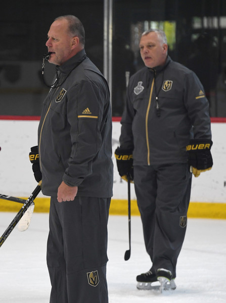 Vegas Golden Knights Hold First Practice Since Winning Western Conference Finals [curling,team sport,winter sport,sports,coach,official,ice,ice rink,mike kelly,gerard gallant,city national arena,vegas golden knights,team,l,western conference,finals,golden knights hold first practice since winning western conference,practice]