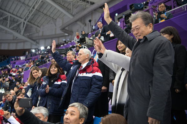 U.S. Vice President Mike Pence Visits South Korea - Day 3 [mike pence,karen,vice president,kim jung-sook,c,kim yo-jong,president,people,crowd,product,event,audience,fan,stadium,photography,competition event,sport venue,south korea,u.s.,gangneung ice arena]
