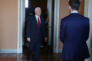 Mike Pence Senate Lawmakers Speak to the Media After Their Weekly Luncheons