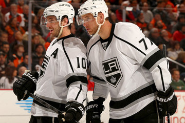 Mike Richards Jeff Carter Los Angeles Kings v Philadelphia Flyers