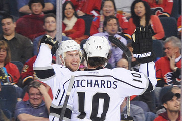 Mike Richards Jeff Carter Los Angeles Kings v Calgary Flames