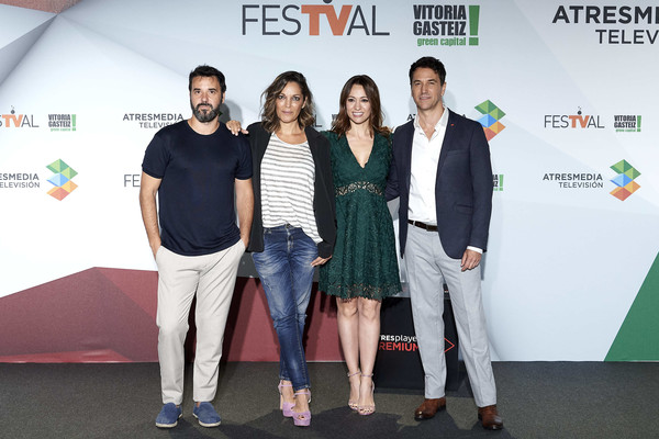 Day 3 - FesTVal 2019 [el nudo,green,event,carpet,red carpet,design,premiere,flooring,award,team,oriol tarrason attend,mikel fernandez,festval 2019,day 3,l-r,photocall,september 04,spain,palacio de congresos europa]