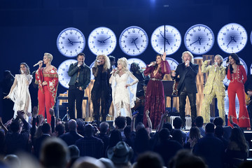 Miley Cyrus Dolly Parton 61st Annual Grammy Awards - Show