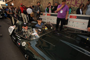 (L-R) Martin Brundle and Bruno Senna attend Mille Miglia 2014, 1000 Miles Historic Road Race on May 15, 2014 in Brescia, Italy.
