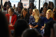 Danielle Bernstein Rocky Barnes, Morgan Stewart and Katherine McNamara attend the Milly by Michelle Smith front row during New York Fashion Week: The Shows at Gallery II at Spring Studios on September 7, 2018 in New York City.