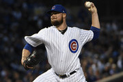 Jon Lester #34 of the Chicago Cubs pitches against the Milwaukee Brewers during the first inning on September 10, 2018 at Wrigley Field  in Chicago, Illinois.