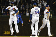 Jason Heyward #22 of the Chicago Cubs and Anthony Rizzo #44 of the Chicago Cubs celebrate their win against the Milwaukee Brewers on April 26, 2018 at Wrigley Field  in Chicago, Illinois.  The Cubs won 1-0.