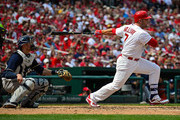 Matt Holliday #7 of the St. Louis Cardinals hits a one run single during the sixth inning against the Milwaukee Brewers at Busch Stadium on April 16, 2015 in St. Louis, Missouri.