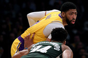 Anthony Davis #3 of the Los Angeles Lakers posts up Giannis Antetokounmpo #34 of the Milwaukee Bucks during the first half at Staples Center on March 06, 2020 in Los Angeles, California.  NOTE TO USER: User expressly acknowledges and agrees that, by downloading and or using this photograph, User is consenting to the terms and conditions of the Getty Images License Agreement.