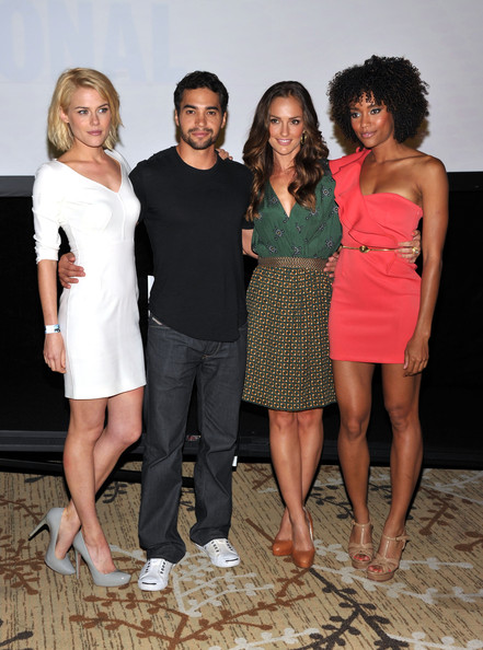 """Charlie's Angels"" Panel  - Comic-Con 2011 [clothing,fashion,social group,dress,event,lady,fun,shoulder,cocktail dress,leg,charlies angels panel - comic-con,actors,annie ilonzeh,minka kelly,rachael taylor,ramon rodriguez,l-r,san diego convention center,san diego,charlies angels panel]"