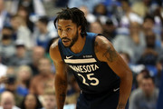 Derrick Rose #25 of the Minnesota Timberwolves at American Airlines Center on October 20, 2018 in Dallas, Texas.  NOTE TO USER: User expressly acknowledges and agrees that, by downloading and or using this photograph, User is consenting to the terms and conditions of the Getty Images License Agreement.