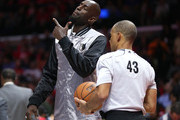 Kevin Garnett #21 of the Minnesota Timberwolves talks to referee Danny Crawford during a time out in the game with the Los Angeles Clippers at Staples Center on March 9, 2015 in Los Angeles, California.   NOTE TO USER: User expressly acknowledges and agrees that, by downloading and or using this photograph, User is consenting to the terms and conditions of the Getty Images License Agreement.