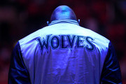 Kevin Garnett #21 of the Minnesota Timberwolves stands during the singing of the national anthem before the game with the Los Angeles Clippers at Staples Center on March 9, 2015 in Los Angeles, California.   NOTE TO USER: User expressly acknowledges and agrees that, by downloading and or using this photograph, User is consenting to the terms and conditions of the Getty Images License Agreement.