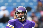 Christian Ponder #7 of the Minnesota Vikings warms up before the first half against the Buffalo Bills at Ralph Wilson Stadium on October 19, 2014 in Orchard Park, New York.