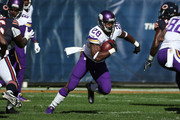 Adrian Peterson #28 of the Minnesota Vikings carries the football in the first quarter against the Chicago Bears at Soldier Field on November 1, 2015 in Chicago, Illinois.