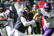 Quarterback Jay Cutler #6 of the Chicago Bears looks to pass against the Minnesota Vikings in the first quarter at Soldier Field on November 1, 2015 in Chicago, Illinois.