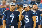 Blaine Gabbert #7 and Marcus Mariota #8 of the Tennessee Titans watch from the sideline during the second half of a pre-season game against the Minnesota Vikings at Nissan Stadium on August 30, 2018 in Nashville, Tennessee.