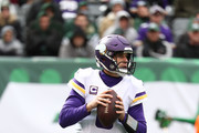 Kirk Cousins #8 of the Minnesota Vikings passes against the New York Jets during their game at MetLife Stadium on October 21, 2018 in East Rutherford, New Jersey.