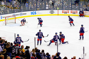 Sergei Bobrovsky #72 of the Columbus Blue Jackets stops a shot from Nick Foligno #71 of the Columbus Blue Jackets during warmups prior to the start of the game against the Minnesota Wild on January 30, 2018 at Nationwide Arena in Columbus, Ohio.